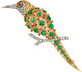 Estate Jewelry:Brooches - Pins, Emerald, Diamond, Ruby, Gold, Silver Brooch, French. ...