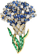 Estate Jewelry:Brooches - Pins, Diamond, Sapphire, Emerald, Platinum, Gold Clip-Brooch, Tobias. ...