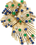 Estate Jewelry:Brooches - Pins, Diamond, Emerald, Sapphire, Gold Brooch. ...