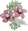Estate Jewelry:Brooches - Pins, Sapphire, Tsavorite Garnet, Diamond, White Gold Brooch. ...