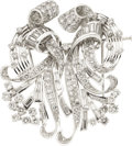 Estate Jewelry:Brooches - Pins, Art Deco Diamond, Platinum Double-Clip-Brooch. ...