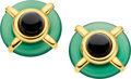 Estate Jewelry:Earrings, Black Onyx, Agate, Gold Earrings, A. Cipullo. ...