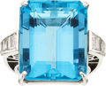Estate Jewelry:Rings, Aquamarine, Diamond, Platinum Ring. ...