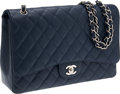 Luxury Accessories:Bags, Chanel Navy Caviar Leather Maxi Single Flap Bag with Silver Hardware. ...