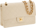 Luxury Accessories:Bags, Chanel Cream Caviar Leather Single Flap Bag with Gold Hardware. ...