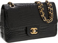 Luxury Accessories:Bags, Chanel Shiny Black Crocodile Medium Double Flap Bag with GoldHardware. ...