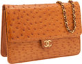 Luxury Accessories:Bags, Chanel Cognac Ostrich Clutch with Gold Chain Shoulder Strap. ...