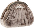 Luxury Accessories:Bags, Judith Leiber Silver Crushed Velvet Evening Bag with ShoulderStrap. ...