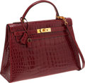 Luxury Accessories:Bags, Hermes 32cm Shiny Rouge H Caiman Crocodile Sellier Kelly Bag withGold Hardware. ...