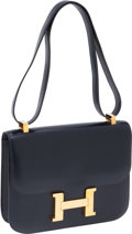 Luxury Accessories:Bags, Hermes 23cm Navy Calf Box Leather Constance Bag with Gold Hardware....