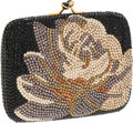 Luxury Accessories:Bags, Judith Leiber Full Bead Black Floral Crystal Minaudiere SmallEvening Bag. ...