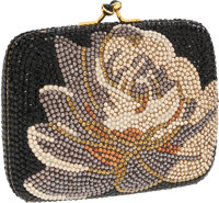 """Judith Leiber Full Bead Black Floral Crystal Minaudiere Evening Bag Excellent Condition 4"""" Width"""