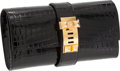 Luxury Accessories:Bags, Hermes 23cm Shiny Black Nilo Crocodile Medor Clutch with Gold Hardware. ...