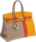 Luxury Accessories:Bags, Hermes Limited Edition 35cm Tri-Color Birkin Bag with PalladiumHardware. ...