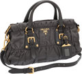 Luxury Accessories:Bags, Prada Gray Nylon and Leather Ruched Bag with Gold Hardware. ...