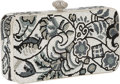 Luxury Accessories:Bags, Judith Leiber Full Bead Silver and Black Crystal Floral MinaudiereEvening Bag. ...