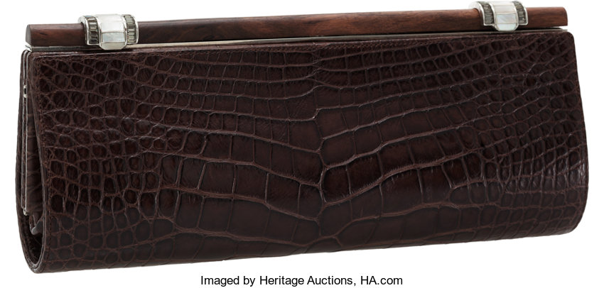 Judith Leiber Matte Crocodile Brown Clutch With Wooden Frame