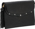 Luxury Accessories:Bags, Lana Marks Matte Black Crocodile Clutch with Crystal Detail. ...