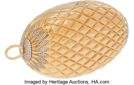 Gucci Stunning Solid 18K Yellow Gold & Diamond Minaudiere Evening Bag with Interchangeable Multicolor Tassels...