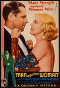"""Movie Posters:Action, Man Against Woman (Columbia, 1932). Trimmed Midget Window Card(7.5"""" X 11""""). Action.. ..."""