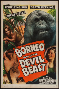 """Borneo (Commander Pictures, R-1940s). One Sheet (27"""" X 41""""). Documentary. Alternate Title: Borneo: Land of the..."""