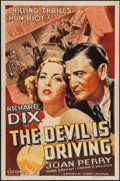 "Movie Posters:Crime, The Devil is Driving (Columbia, 1937). One Sheet (27"" X 41"").Crime.. ..."