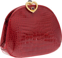 Judith Leiber Red Crocodile Clutch with Gold Heart Closure