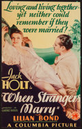 "Movie Posters:Romance, When Strangers Marry (Columbia, 1933). Trimmed Midget Window Card (7.25"" X 11.5""). Romance.. ..."