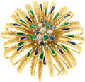 Estate Jewelry:Brooches - Pins, Diamond, Sapphire, Emerald, Enamel, Gold Pendant-Brooch. ...