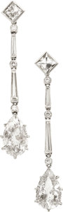 Estate Jewelry:Earrings, Art Deco Diamond, White Gold Earrings. ...