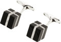 Estate Jewelry:Cufflinks, Black Onyx, Diamond, White Gold Cuff Links, Eli Frei. ...