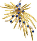 Estate Jewelry:Brooches - Pins, Sapphire, Diamond, Gold Brooch, Hammerman Bros.. ...