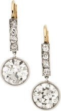 Estate Jewelry:Earrings, Antique Diamond, Gold, Silver Earrings. ...
