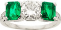 Estate Jewelry:Rings, Art Deco Emerald, Diamond, Platinum Ring. ...