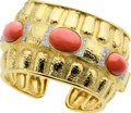 Estate Jewelry:Bracelets, Coral, Diamond, Platinum Gold Bracelet, David Webb. ...