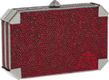 Luxury Accessories:Bags, Judith Leiber Full Bead Red Crystal Geometric Minaudiere EveningBag . ...