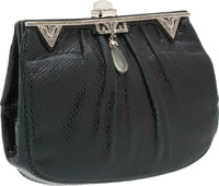 Judith Leiber Dark Green Lizard Clutch with Crystal and Lucite Closure