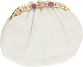 Luxury Accessories:Bags, Judith Leiber White Lizard Clutch with Gold Frame and PurpleCabochon Closure. ...