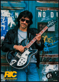 """John Kay of Steppenwolf (Rickenbacker, 1988). Autographed Advertising Poster (23.5"""" X 33""""). Rock and Roll"""