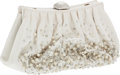 Luxury Accessories:Bags, Judith Leiber White Satin and Crystal Evening Clutch. ...