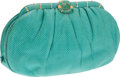 Luxury Accessories:Bags, Judith Leiber Turquoise Lizard Clutch with Jade Cabochon Closure. ...