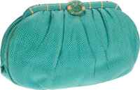 Judith Leiber Turquoise Lizard Clutch with Jade Cabochon Closure