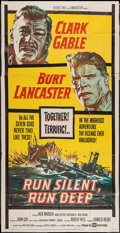 "Movie Posters:War, Run Silent, Run Deep (United Artists, 1958). Three Sheet (41"" X78""). War.. ..."