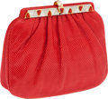 Luxury Accessories:Bags, Judith Leiber Red Lizard Clutch with Gold Frame and Red StoneClosure. ...