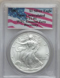 Modern Bullion Coins, 2001 $1 Silver Eagle Gem Uncirculated PCGS. Ex: 9-11-01 WTC GroundZero Recovery (#9954)...