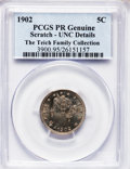 Proof Liberty Nickels: , 1902 5C -- Scratched -- PCGS Genuine. Unc Details. NGC Census:(1/432). PCGS Population (5/467). Mintage: 2,018. Numismedia...