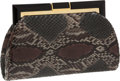 Luxury Accessories:Bags, Judith Leiber Snakeskin Clutch with Black Lucite and Gold Frame....