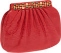 Luxury Accessories:Bags, Judith Leiber Red Lizard Clutch with Multi-Cabochon Closure. ...