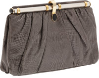 Judith Leiber Gray Lizard Clutch with Silver and Gold Frame