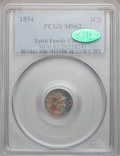 Three Cent Silver: , 1854 3CS MS62 PCGS. CAC. PCGS Population (44/200). NGC Census:(53/197). Mintage: 671,000. Numismedia Wsl. Price for proble...